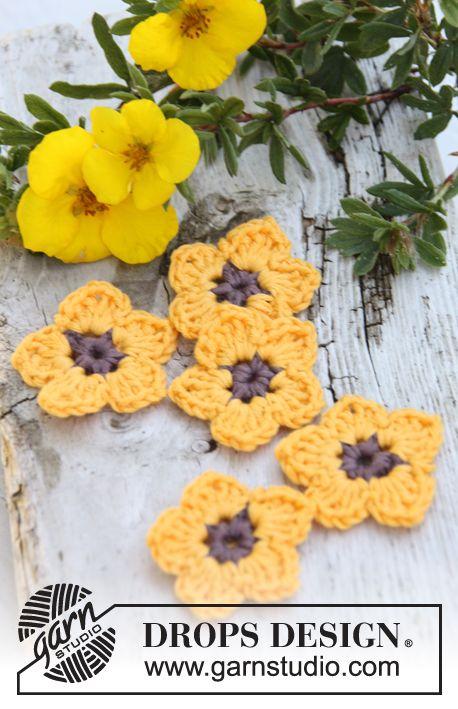 """Crochet DROPS potentilla flowers in """"Safran"""". ~ DROPS Design"""