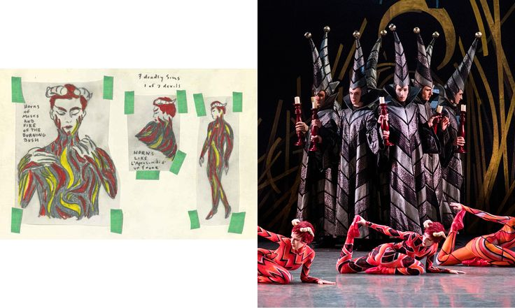 "Marcel Dzama's costume designs for ""The Most Incredible Thing."" Pictured: Seven Deadly Sins costume sketch, Seven Deadly Sins costume on stage."