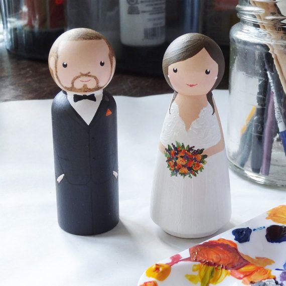 LittleBrownDogUK Bride and tuxedo groom peg doll wedding cake topper custom