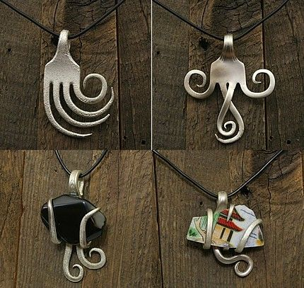 Fork Jewelry: Projects, Crafts Ideas, Old Silverware, Stuff, Forks Jewelry, Forks Art, Things, Diy, Silverware Jewelry