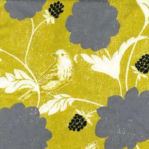 RUPP SECRETARY SKIRT: Echino Dahlia bird linen / cotton in gold and grey