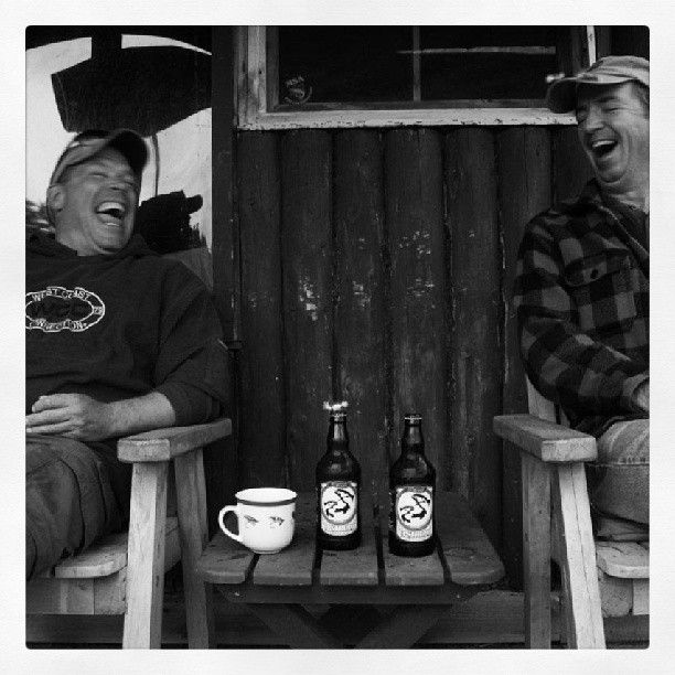 """Loop Canada Fly Fishing. Loop Canada Prostaffer Raymond Plourde sent in this pic. """"Sharing a laugh and a limited edition salmon conservation fundraising beer from Picaroons at Moosecall Camp, Upper Miramichi River, N.S."""" - Ray. #loopcanada #looparmy #looptackle"""