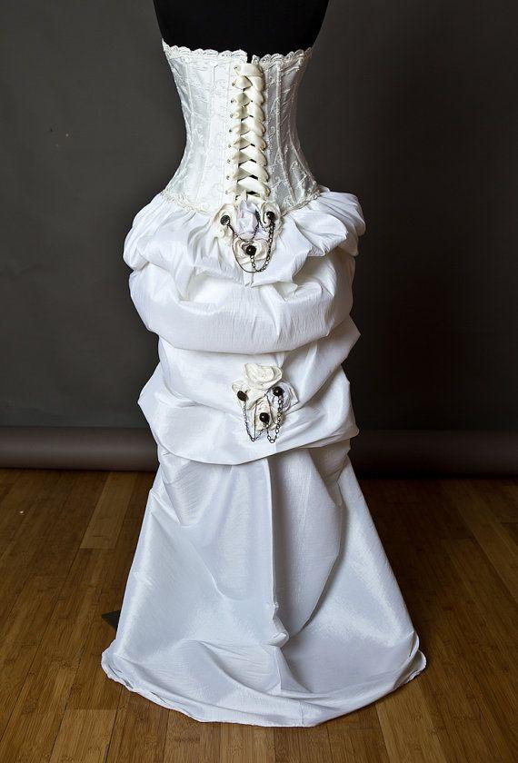 Custom size ivory steampunk burlesque corset wedding gown for Steampunk corset wedding dress