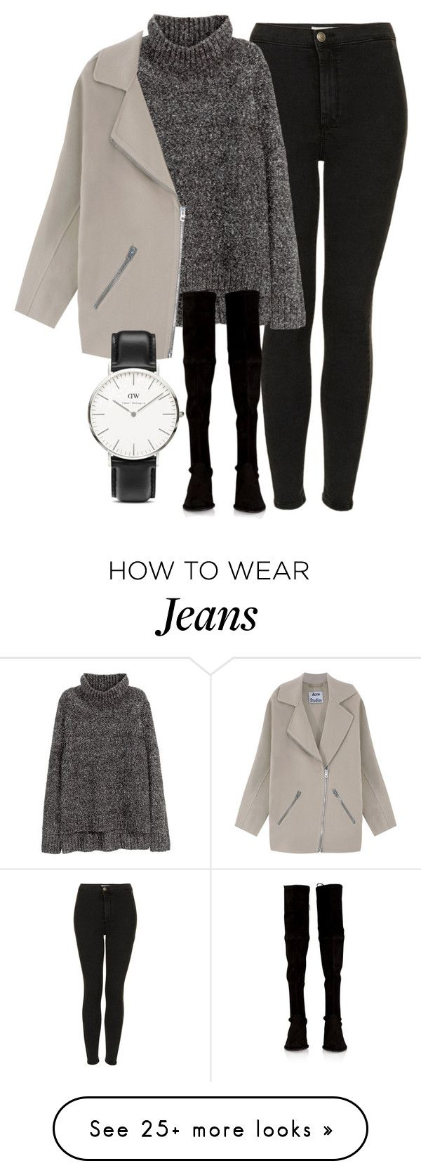 """Untitled #4522"" by laurenmboot on Polyvore featuring Topshop, H&M, Acne Studios, Stuart Weitzman and Daniel Wellington"