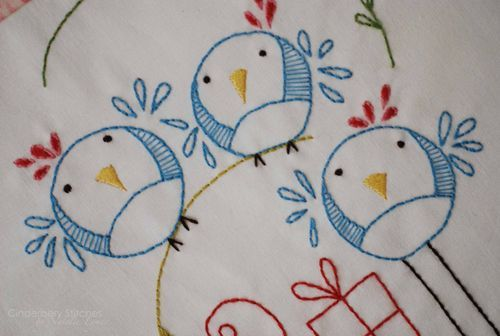 """""""The birds are having a party!"""" Cinderberry Stitches"""