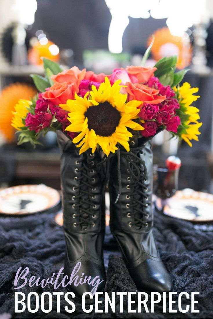 this easy diy halloween centerpiece is made from a pair of bewitching boots such a - Halloween Centerpiece Ideas