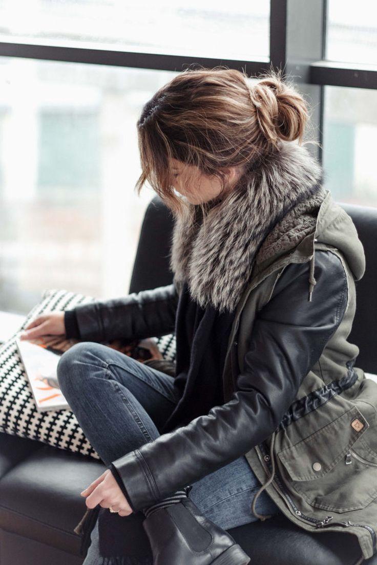 Parka + fur scarf.  Añade una estola de pelo a tu parka verde. http://www.samivida.com/wednesdays-fur-green-parka-look-06/  samivida-fashion-blogger-sansebastian-wednesdays-fur-parka-look-06-10