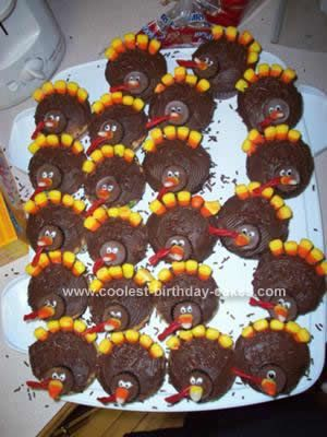 Homemade Thanksgiving Turkey Cupcakes: I made these Homemade Thanksgiving Turkey Cupcakes for my son's first birthday, which was on Thanksgiving. They were super easy (though took some time)