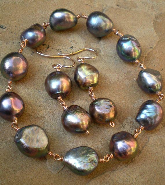 Black Baroque Pearl Bangle Bracelets on 14K Pink by FMBdesigns, $150.00