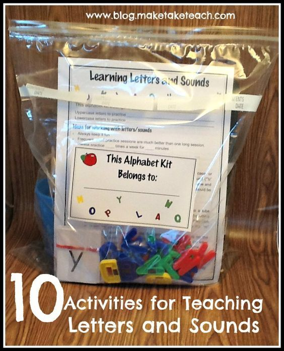 10 activities for teaching and practicing letters and sounds. Perfect for classroom volunteers or for parents to use at home.  FREE printables!