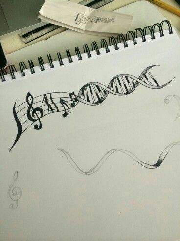 Music note sheet into DNA as a idea for a tattoo
