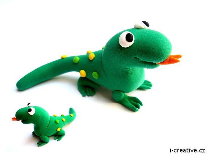 Lizard  from modeling clay / Ještěrka ze samotvrdnoucí modelovací hmoty