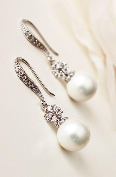 White Pearl Drop Earrings Bridal