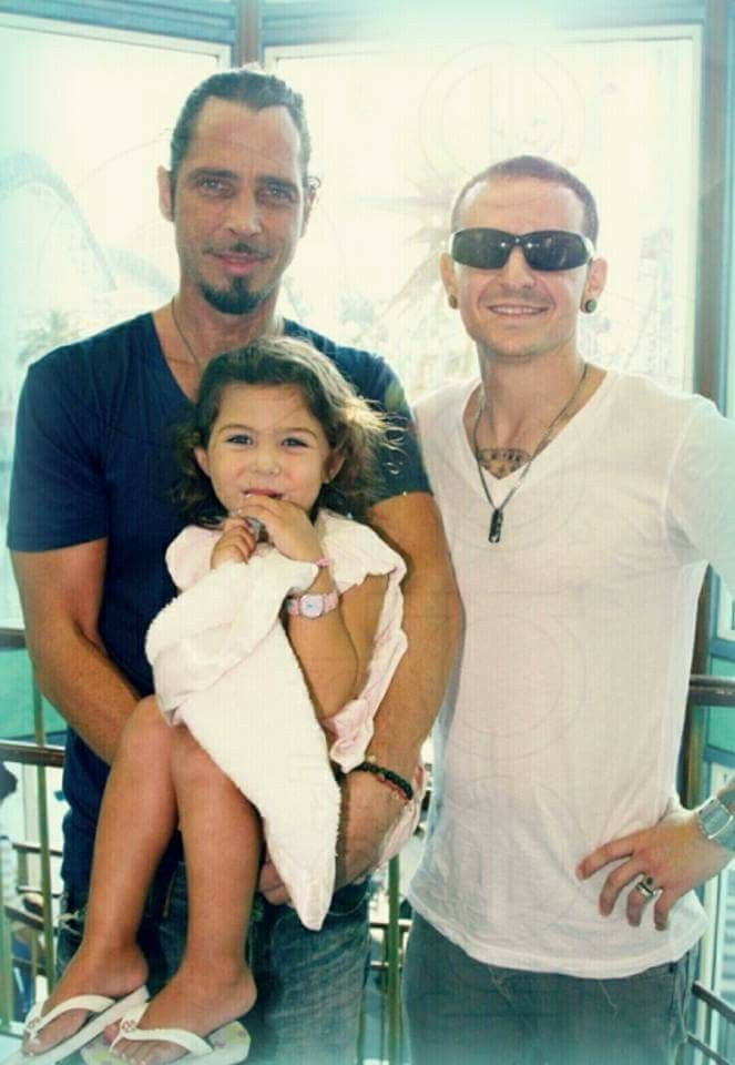 chris cornell (and daugher) with chester bennington
