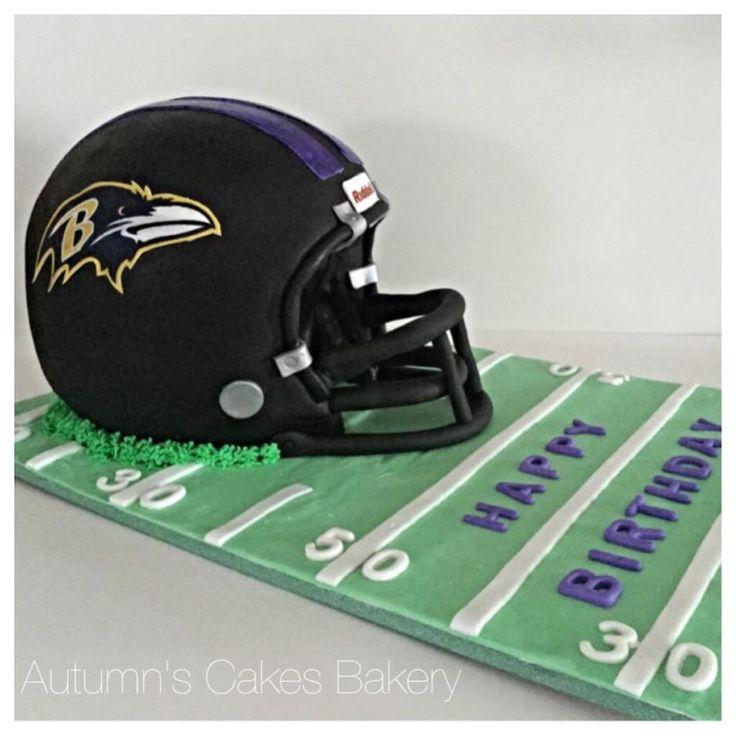 Baltimore Ravens Helmet Cake Football Themed Cakes Football Helmet Cake Birthday Cake For Husband