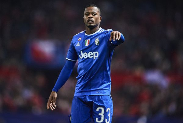 Patrice Evra of Juventus looks on during the UEFA Champions League match between Sevilla FC and Juventus at Estadio Ramon Sanchez Pizjuan on November 22, 2016 in Seville, Spain.