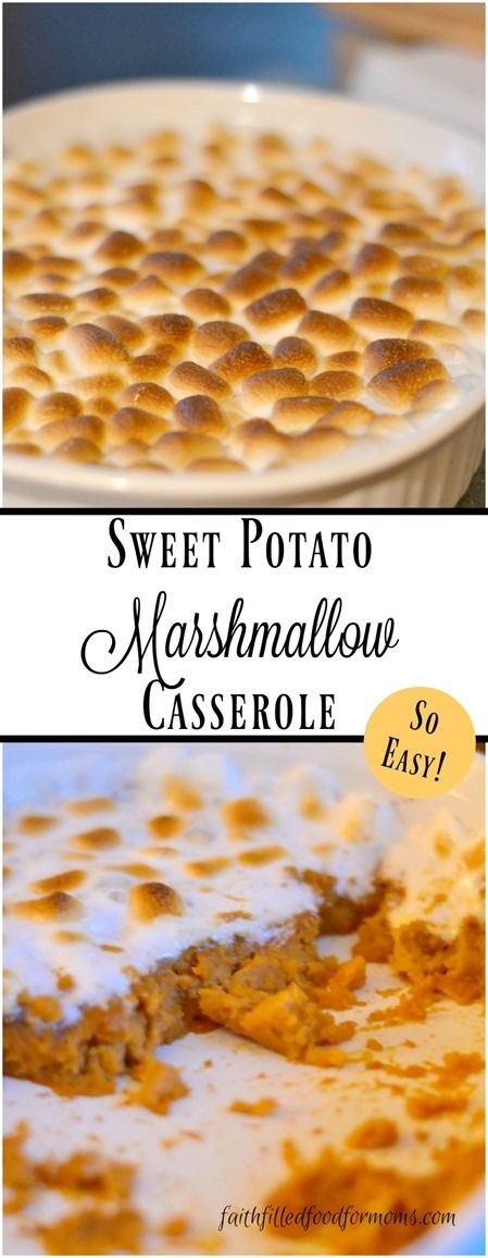 Sweet Potato and Marshmallow Casserole with orange juice. This a yummy and easy side dish for any occasion!