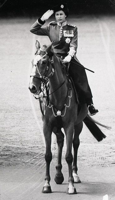Princess Elizabeth at a Trooping of the Colour ceremony for her father George VI, c. 1950