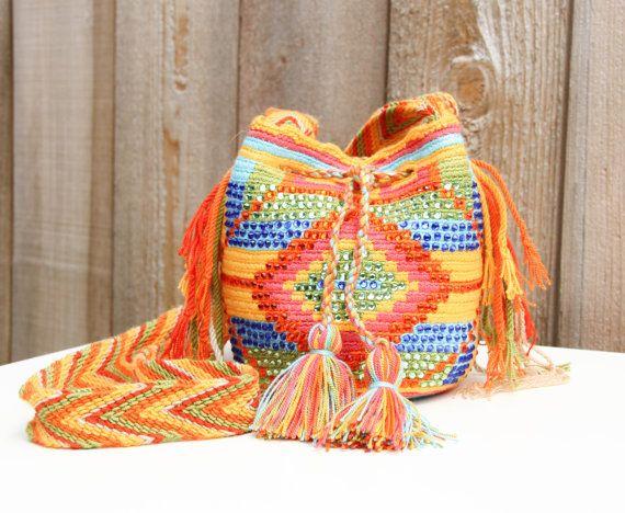 Mini Wayuu Mochila Bag With Crystals by MAKAWIACCESSORIES on Etsy, $98.00