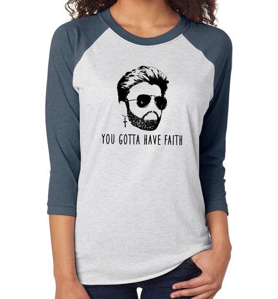 George Michael Gotta Have Faith raglan baseball tee tshirt t-shirt 80s music