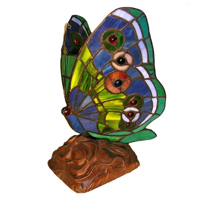 Tiffany Style Green Butterfly Table Lamp (Tiffany Style Green Butterfly)  (Art Glass