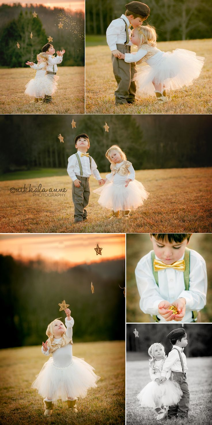 When you wish upon a star | Nikkala Anne Photography  holiday family photo session idea photography inspiration stars brother sister boy girl glitter