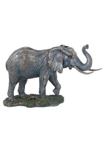 Male Elephant Bull with Raised Trunk Bronze Finish Statue 14.1L
