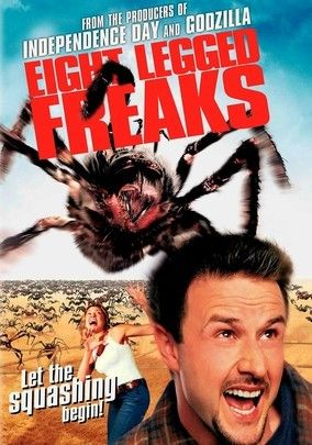 Eight Legged Freaks (2002) When a toxic waste spill near a small Arizona community causes spiders to mutate into rampaging arachnids the size of automobiles, it's only a matter of time before the eight-legged freaks develop a taste for prey other than insects. David Arquette and Kari Wuhrer star as the duo that rallies the town's defenses in director Ellory Elkayem's affectionate send-up of the creature features of yesteryear.