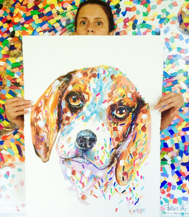 """TRACEY KELLER """"DOG A DAY"""" DASH, the shoe thief Acrylic and Ink on 640gsm paper 76cm x56cm Enquiries email: Jean@traceykeller.com.au #painting #artist #art #dog #canine #australia #animal"""