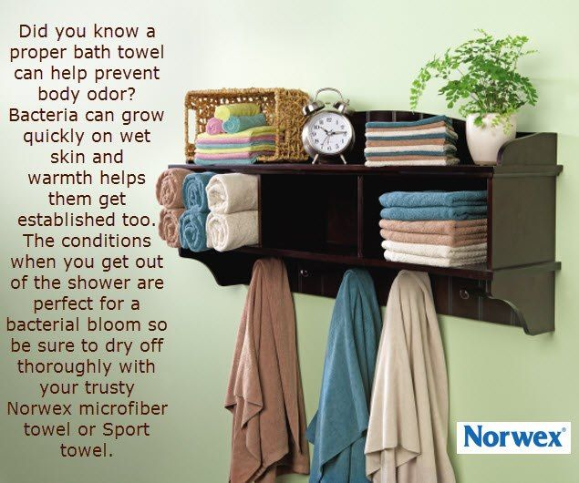 A proper bath towel can help prevent body odor. Human skin is typically a bit on the acidic side, making it an inhospitable environment for many types of bacteria -- when it's dry. When it gets wet, bacteria can grow quickly on your skin when you sweat. Warmth helps them get established, too. Moist and warm; they love that. In short, the conditions when you get out of the shower are perfect for a bacterial bloom unless you use soap and dry off thoroughly with your trusty Norwex microfiber…