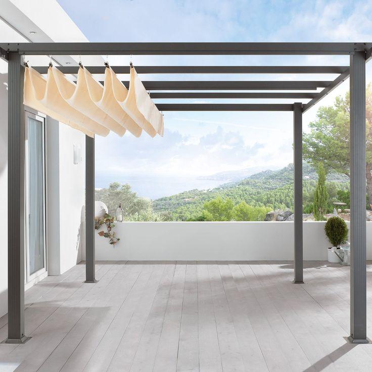 Amazon.de: Terrassen Pavillon Pergola Aluminiumgestell Polyester-Dach stufenlos raffbar 290 x 290 x 220 cm dunkelgrau beige