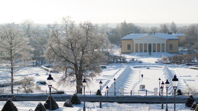 Botaniska Trädgården i Uppsala, på vintern