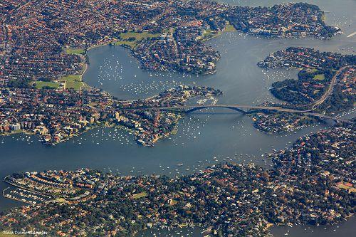 Aerial View of Gladesville Bridge, Sydney, NSW | Australia (by Black Diamond Images| viasomeboyinsydney)