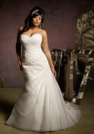 Longueur au sol sirène robe de mariée grande taille organza et satin en applique et ruche [#M1407156037] - modanie