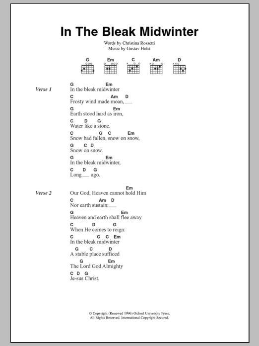 Gustav Holst: In The Bleak Midwinter - Guitar Chords/Lyrics