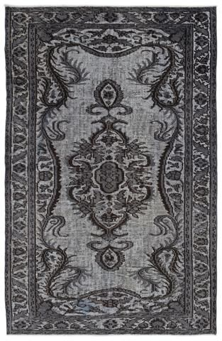 Gray Over Dyed Carved Rug 5'5'' x 8'6'' ft 164 x 258 cm