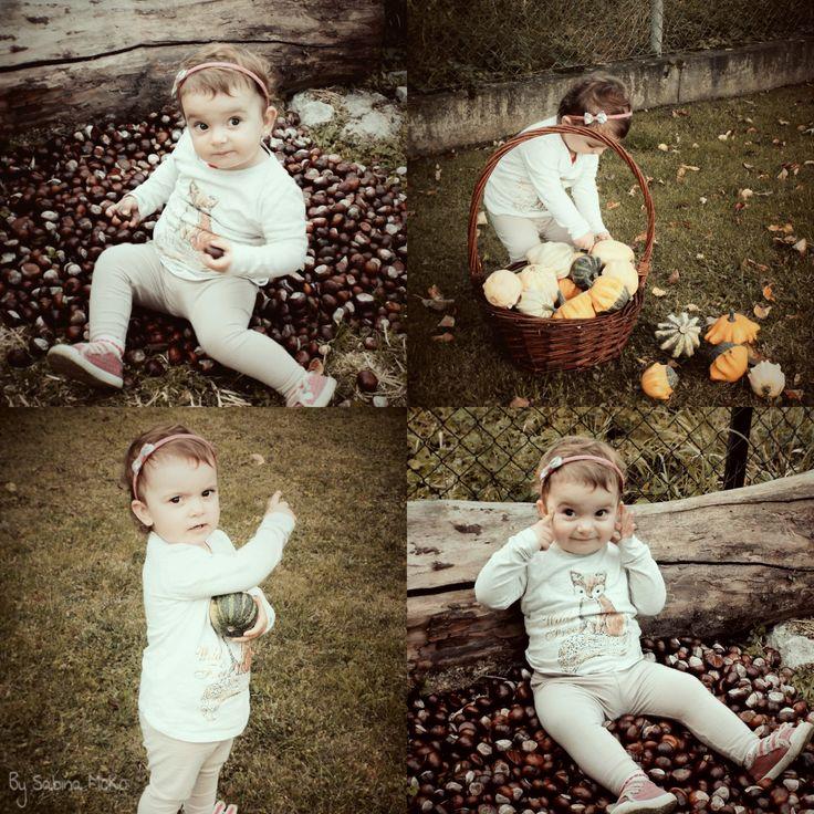 Chestnuts for animals and pumpkins with my baby :) /  kaštany pro zvířata měly velký úspěch :) a dýně z naší zahrádky. #chestnut, #pumpkin, #baby, #autumn