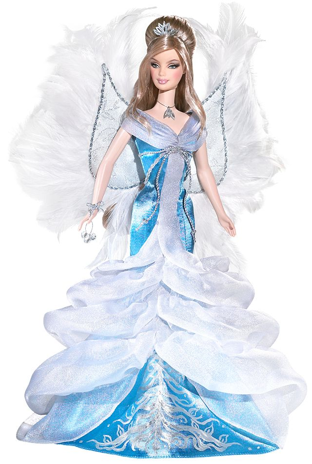 2008 Angel Barbie® Doll   Barbie Collector :: Dressed in an icy blue and white gown, 2008 Angel Barbie® doll is a heavenly vision. Delicate white wings accented with feathers add to her ethereal appeal. With serene face paint and glittery accessories, she's sure to warm your heart! Release Date: 6/1/2008