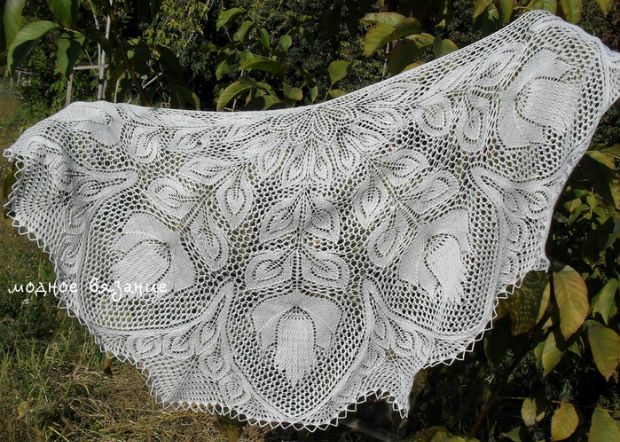 How to knit a triangular shawl with knitting needles - Fashion knitting