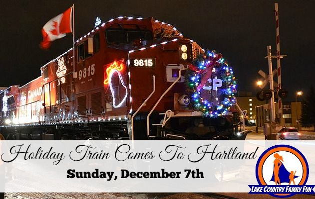 Canadian Pacific Holiday Train arrives at approximately 8:40 pm, with a FREE half hour set of musical entertainment from a boxcar! Arrive early for premium parking and join the family fun. Appearances by Santa, Free mini-train rides courtesy of Canadian Pacific boarding at Hartland Meadows beginning at 7:00 pm, Free Elf Glow Wand with monetary donation to food pantry courtesy of Hartland Chamber of Commerce and sponsoring businesses Free music from the Holiday Train performers