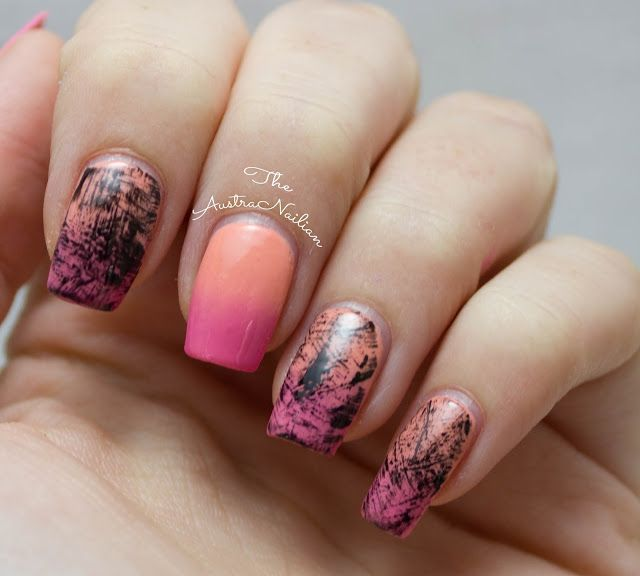 Distressed sunset gradient nail art design using dry brush technique from The AustraNailian blog.
