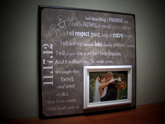 Customized Wedding Picture Frames : Wedding Vows Personalized Wedding Frame, Bride Gift, Groom Gift ...