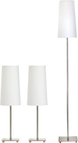 COASTER HOME FURNISHINGS 901418 CONTEMPORARY LAMPS, BRUSHED STEEL, 3-PACK - Click image twice for more info - See a larger selection of table lamp sets at http://tablelampgallery.com/product-category/table-lamp-sets/ - home, home decor, table lamps, gift ideas, home ideas, lightning .