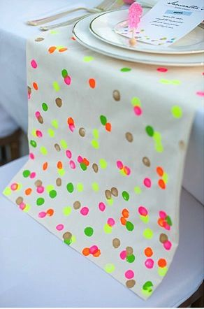 "Neon ""confetti"" DIY Table Runner"