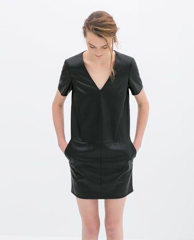 FAUX LEATHER V-NECK DRESS from Zara