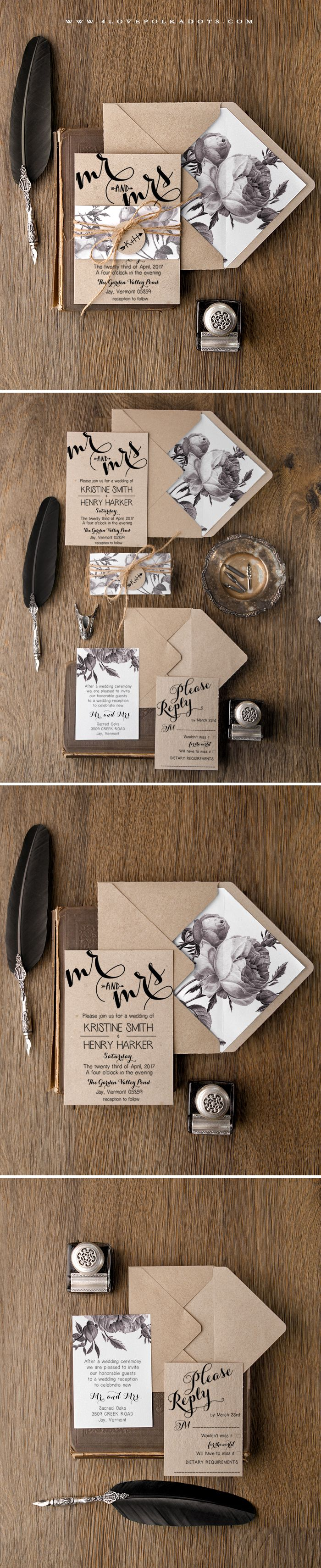 Handmade Wedding Invitation - Eco Papers, Floral Printing & Calligraphy writing #weddingideas #boho #rustic