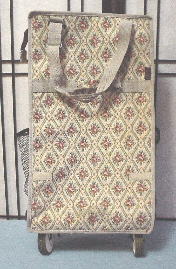 b7f4d367c64e Vintage ALL Folding Beige Rose Diamond Pattern Tapestry Rolling ...