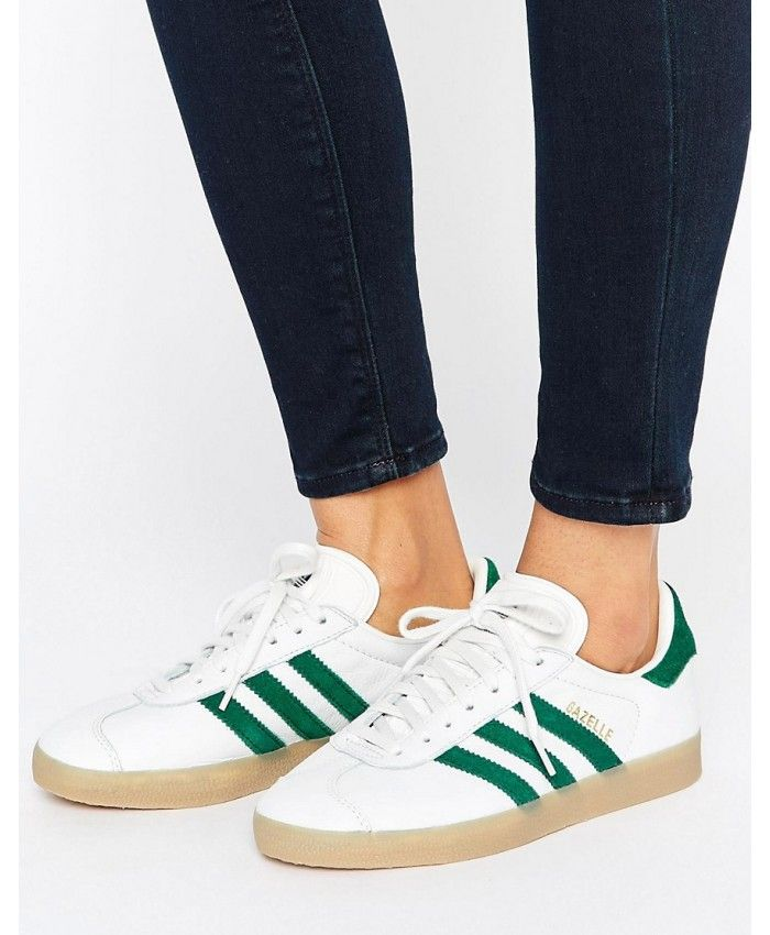 484ebfcfc739 Adidas Gazelle Womens Trainers In White Green with Gum Sole