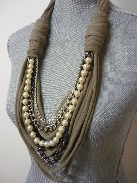 Chunky Scarf Necklace w/chains and pearls - Taupe & Silver - Eco-Friendly Jersey Scarf w/Jewelry Detail