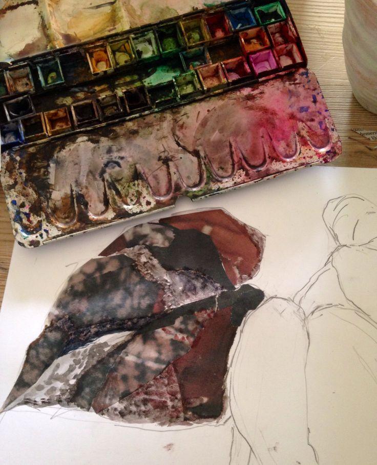 #lindaherrlin #blad #skissarbete #collage #akvarell till #relief